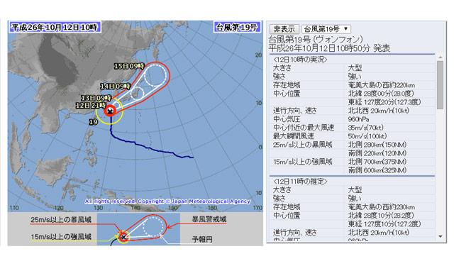 台風19号、13日に九州南部に接近、上陸の恐れも