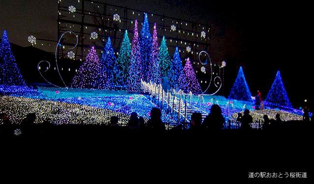 道の駅「おおとう桜街道」でアナ雪のイルミ点灯