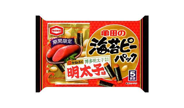 亀田製菓が博多明太子粉末を使用した海苔ピーパック発売