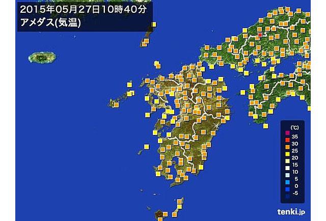 福岡が今年初めての真夏日に、気温上昇