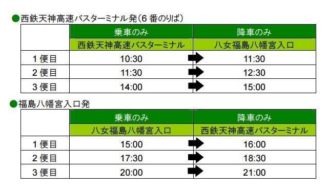 西鉄が「八女福島の燈篭人形」にあわせ直行臨時バス運行