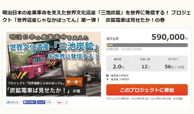 炭鉱電車ば見せたか!大牟田市がクラウドファウンディング