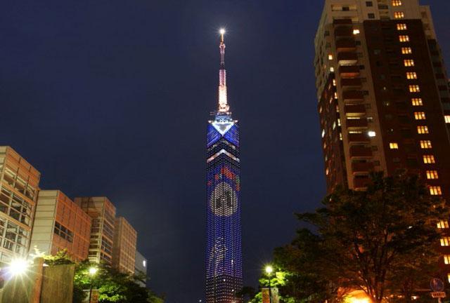 福岡タワーで期間限定の「お月見イルミネーション」点灯