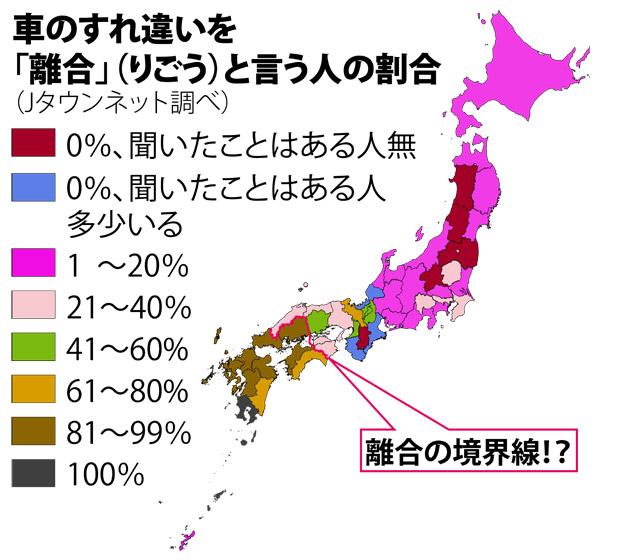 車のすれ違いを「離合」と言う人は日本人の36%
