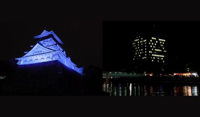 小倉城&北九州市役所「鷹の祭典ライトアップ」