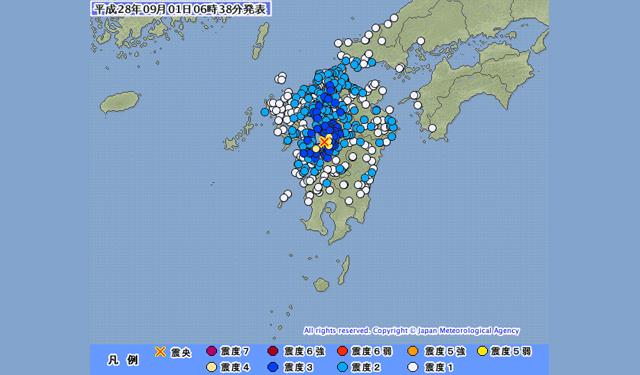 9月1日(6時33分)熊本で震度4、筑後地方などで震度3