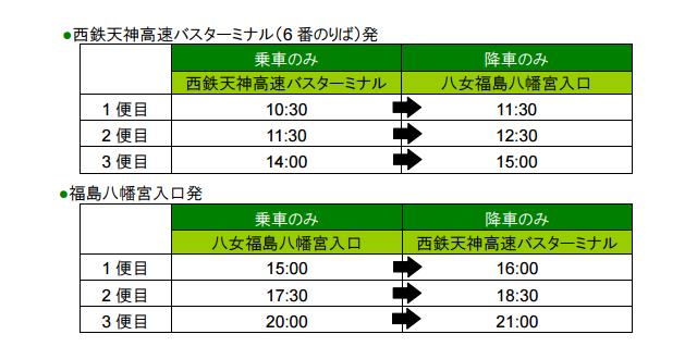 西鉄が「八女福島の燈籠人形」に合わせ直行臨時バス運行
