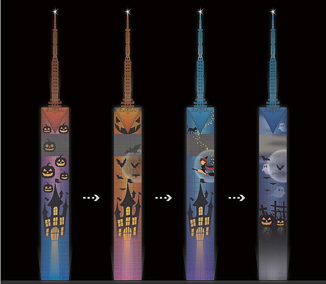 福岡タワーで塔体を動く「ハロウィンイルミネーション」