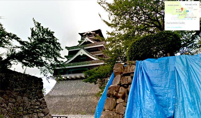 熊本城の現状をグーグルがストリートビューで公開