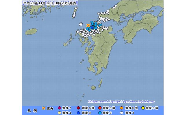 福岡県北西沖で震度3の地震(10時19分頃)