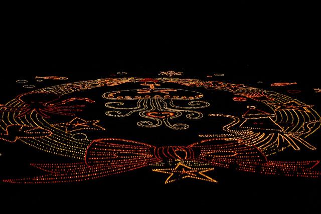 壮大な光の地上絵「うみなかクリスマスキャンドルナイト」