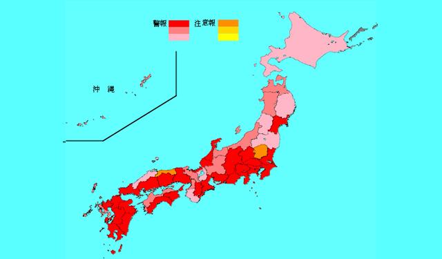インフルエンザ感染拡大で福岡県が全国最多、警報「レッド」