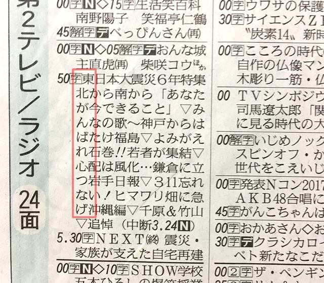 NHKが新聞TV欄縦読みで「東北がんばれ心つなげ」