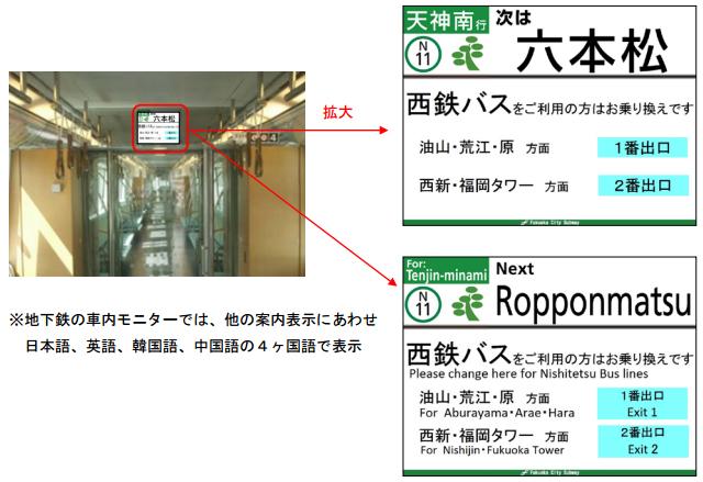 地下鉄と西鉄バスの車内モニターで相互乗換案内を開始