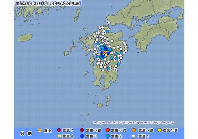 九州で地震、震源地は熊本県熊本地方
