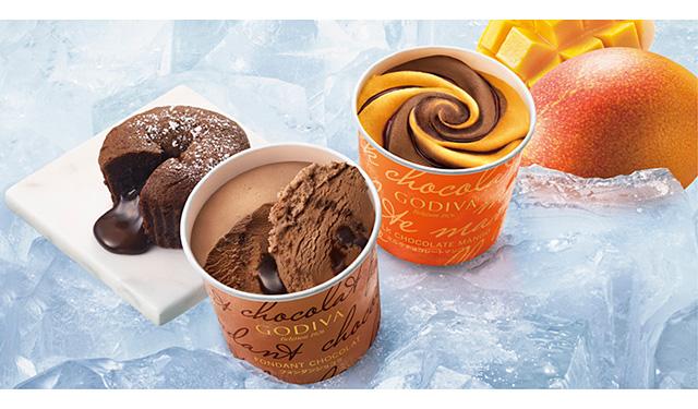ゴディバのカップアイス『フォンダンショコラ』と『ミルクチョコレートマンゴー』発売中