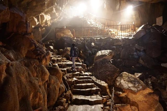 目白鍾乳洞(小倉南区)には日本最大級の一枚岩の鍾乳石があります