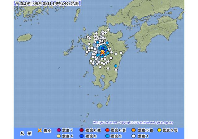 九州で地震、震源地は熊本県熊本地方、柳川市で震度2
