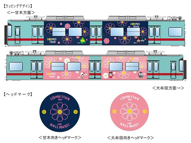 西鉄が『コスモス電車』期間限定運行
