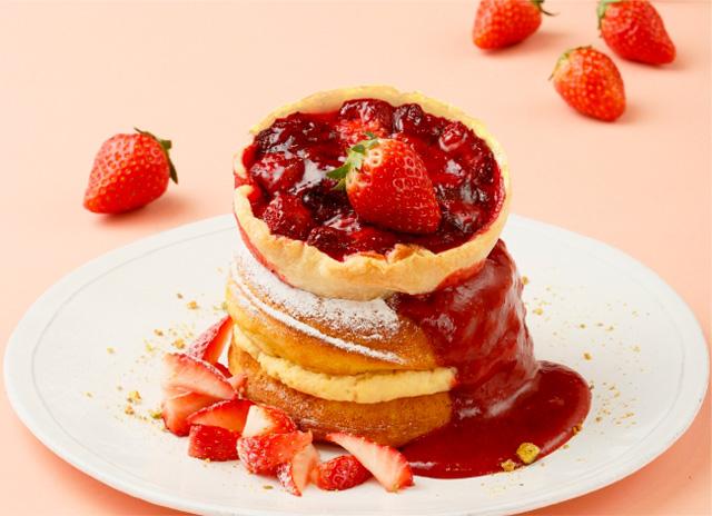 ストロベリーパイのパンケーキ 濃厚な苺ソース添え