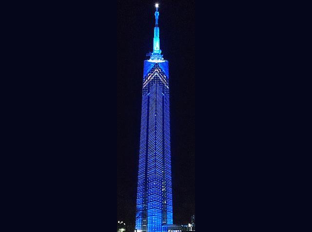 「世界自閉症啓発デー」にあわせて福岡タワーがブルーにライトアップ