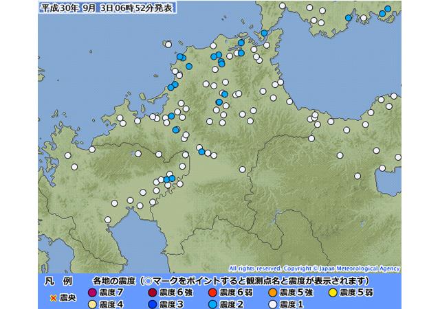 山口県北西沖で地震、福岡県で震度2を観測