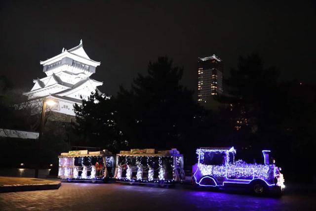 1月14日まで!イルミネーショントレイン「きらぽっぽ」小倉城庭園周辺を走ります!