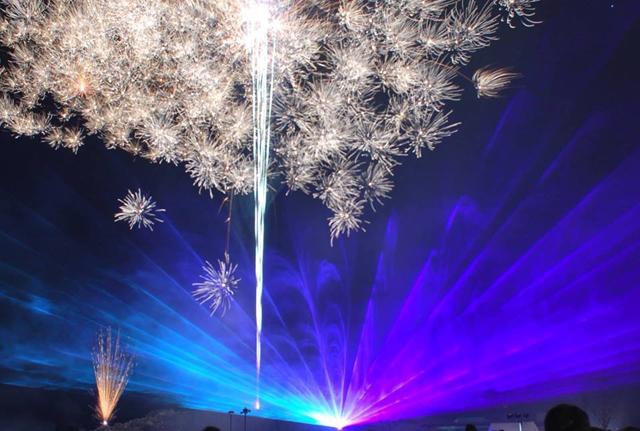 澄んだ冬空を音楽とレーザー光線で彩る花火ショー!平尾台自然の郷「第12回平尾台ふゆはなび」開催!