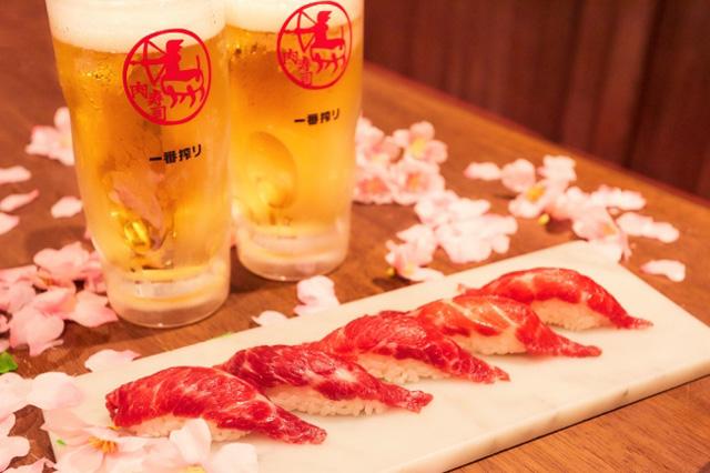 馬肉の桜肉寿司をお一人様1貫サービス!「博多筑紫口 肉寿司」で平成最後の桜祭り開催!