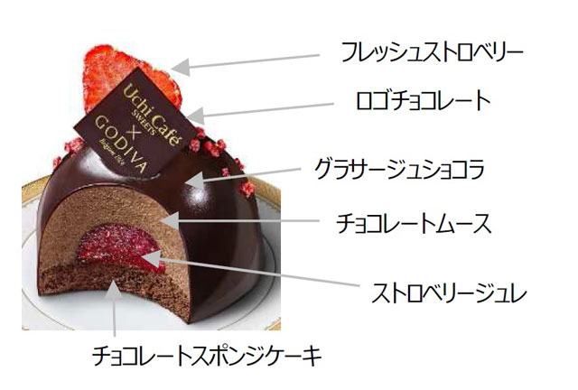 Uchi Café × GODIVA ショコラドーム ストロベリー