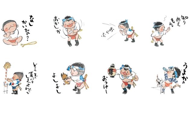 「うまかっちゃん」のパッケージデザインでお馴染み、西島伊三雄 氏の山笠イラストがLINEスタンプになって登場!