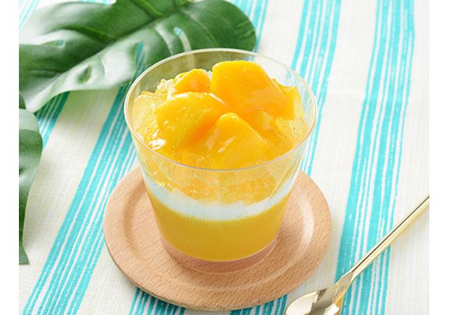 マンゴーとパッションフルーツのプリン