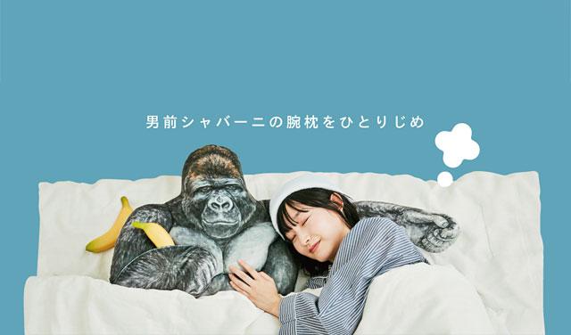 フェリシモの雑貨ブランド ユーモアから「シャバーニのたくましい腕枕クッション」登場