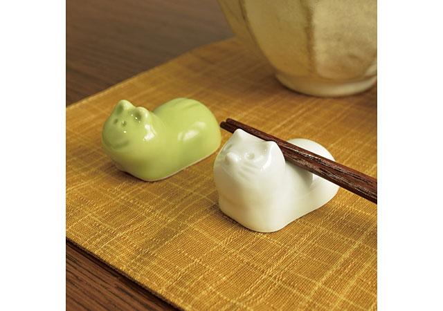 有田焼箸置き2種セット(カエル・ネコ)