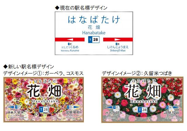 """西鉄が花畑駅の駅名標を変更「""""花畑""""らしさを表現」"""