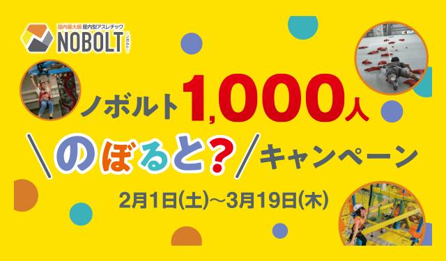 スポーツアスレチック施設「ノボルト」1000人のぼると?!キャンペーン!