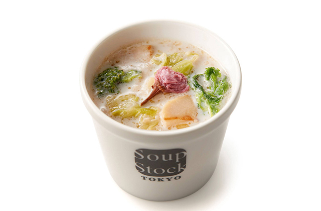 スープストックトーキョーの春野菜を存分に楽しむスープ「桜と春野菜のクリームスープ」今年も登場!