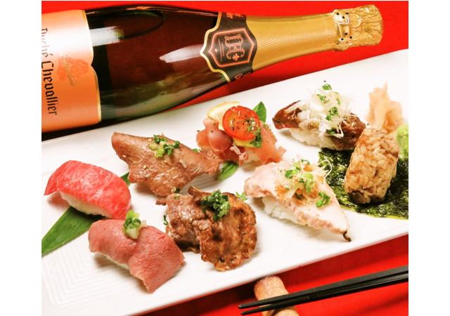 肉寿司×黒毛和牛の鉄板焼「肉焼 ベンジャミン」人気の看板メニュー肉寿司が全品半額!