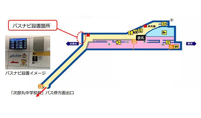 地下鉄七隈線「賀茂駅」に西鉄バスナビを設置