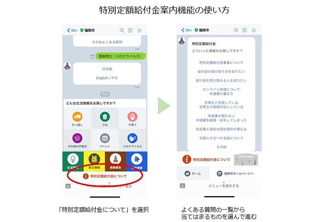 福岡市LINE公式アカウントにチャットボットによる「特別定額給付金案内機能」登場