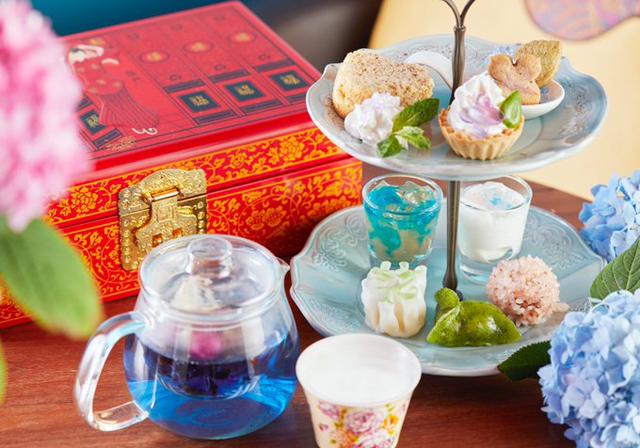 中国茶カフェ・チャイナカフェより紫陽花のアフタヌーンティーが登場