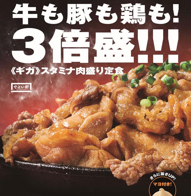 やよい軒から『牛・豚・鶏のスタミナ肉盛り定食』新発売へ