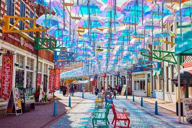 Wpc.™×ハウステンボス 世界初となるオーロラ傘で魅せる「アンブレラストリート」が登場