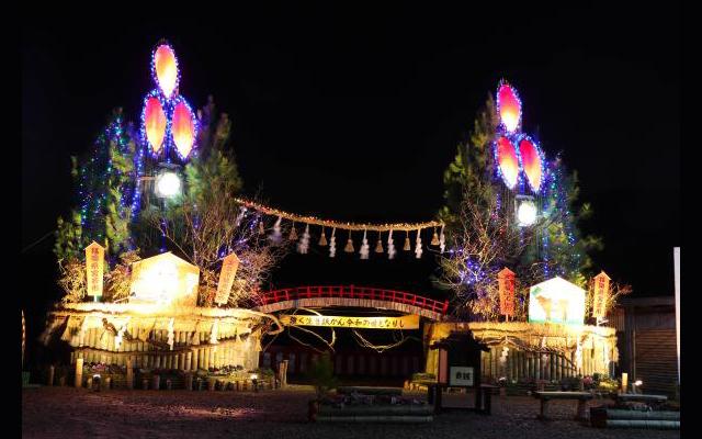 宮若市「日本一の大門松」高さ9メートル余大門松お目見え!ライトアップも実施!