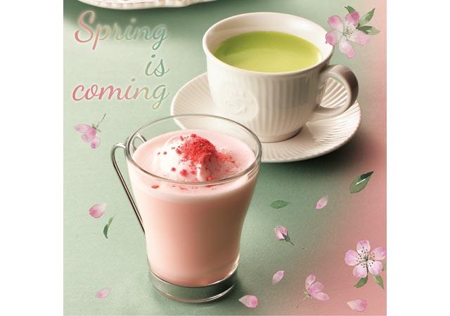カフェ・ド・クリエから「桜クランチラテ&桜のロールケーキ」発売へ