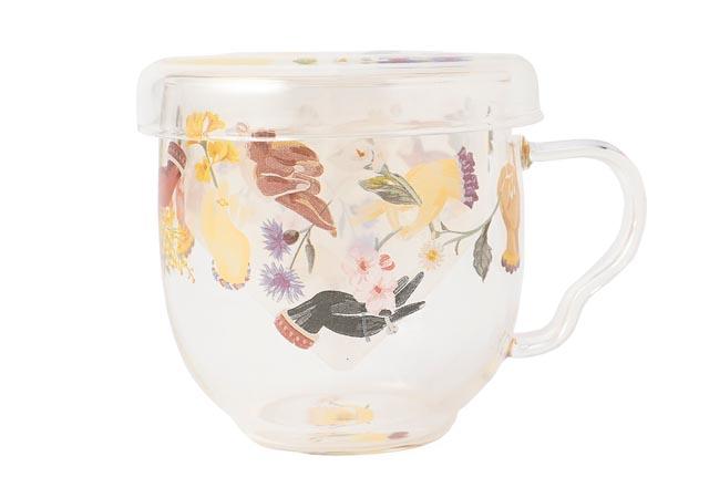税込19,800円以上購入「アミカルモン. 柄茶漉し付きガラスカップ」