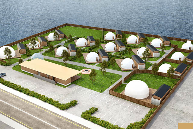 福津市に16棟のドーム型グランピング施設「グランドーム福岡ふくつ」グランドオープン