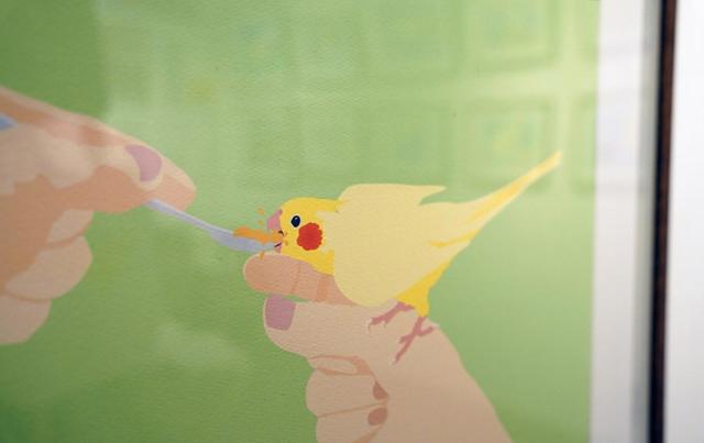 心がもふもふする夏を。福岡の2つの書店で小鳥の絵本原画展が開幕『かわいいことりちゃん』絵本原画展