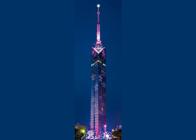 福岡タワーで刀剣男子4振りをイメージした4色&桜のイルミの特別VERをライトアップ