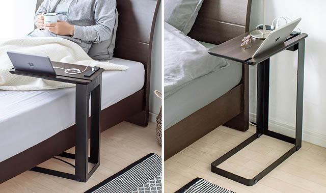 サンワサプライから「天板にUSBポート&電源コンセント付きサイドテーブル」登場